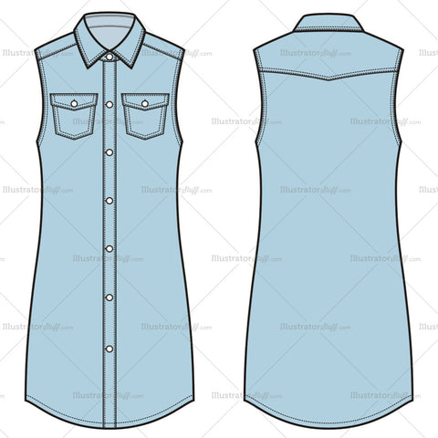 Women's Denim Dress Fashion Flat Template