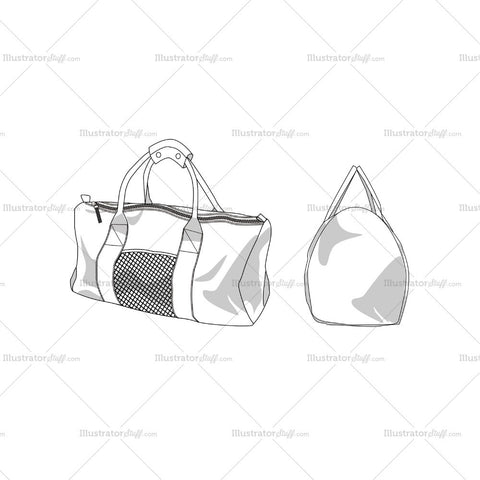 Duffle Bag Fashion Flat Template