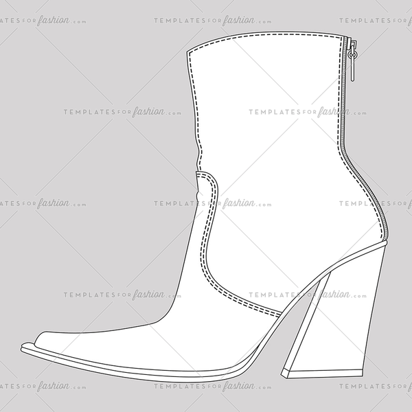 female cowboy ankle boot fashion flat sketch template