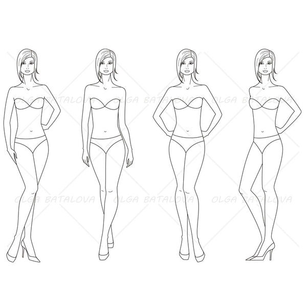 Fashion templates figures front and back