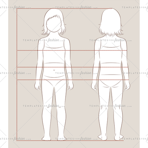 Girl child fashion croquis template