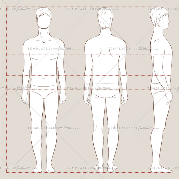 Male fashion croquis template