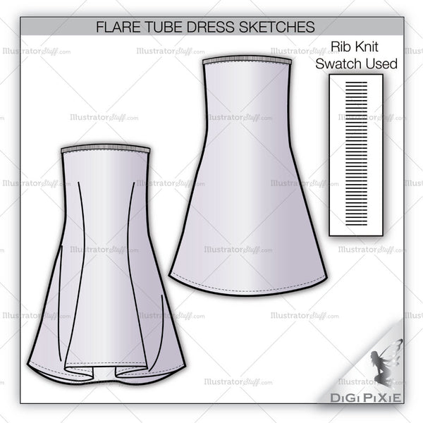 Flare Tube Dress Sketch Template