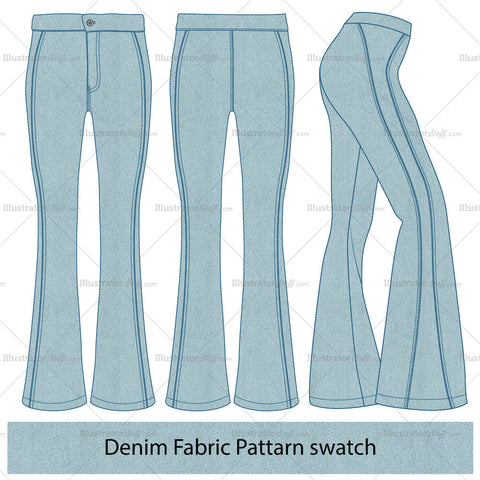 Women's Flared Jeans Fashion Flat Template