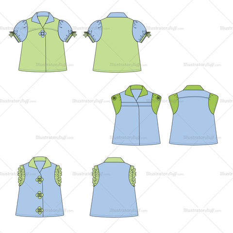 {Illustrator Stuff} Girl's Toddler Top Fashion Flat Template