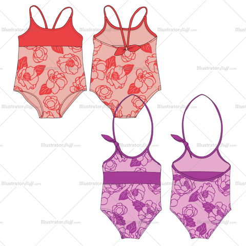 Girls Swimsuit Fashion Flat Templates