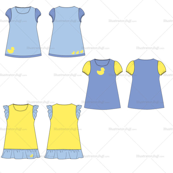 Girl's Toddler Day Dress Fashion Flat Template