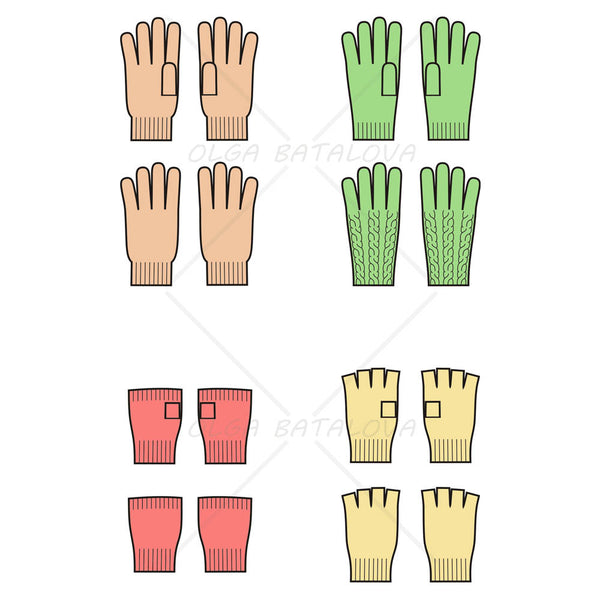 Knit Gloves Fashion Flat Templates