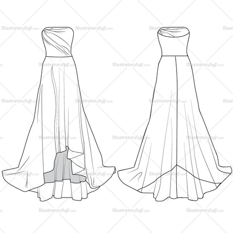 Evening Gown Fashion Flat Templates