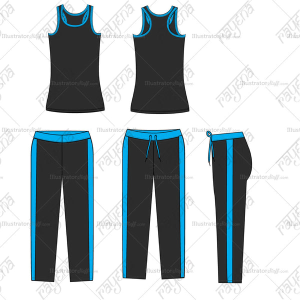 Women's Colorblock Gym Outfit Flat Template