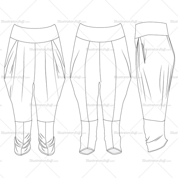 Harem Pant's Fashion Flat Templates