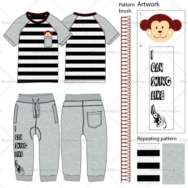 Toddler's T-shirt & Pants Fashion Flat Template.