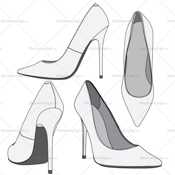 High Heel Shoes Fashion Flat Templates