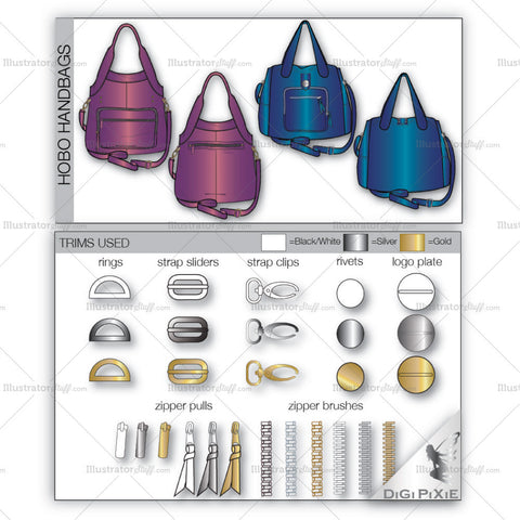 Hobo Bag Fashion Flat Templates