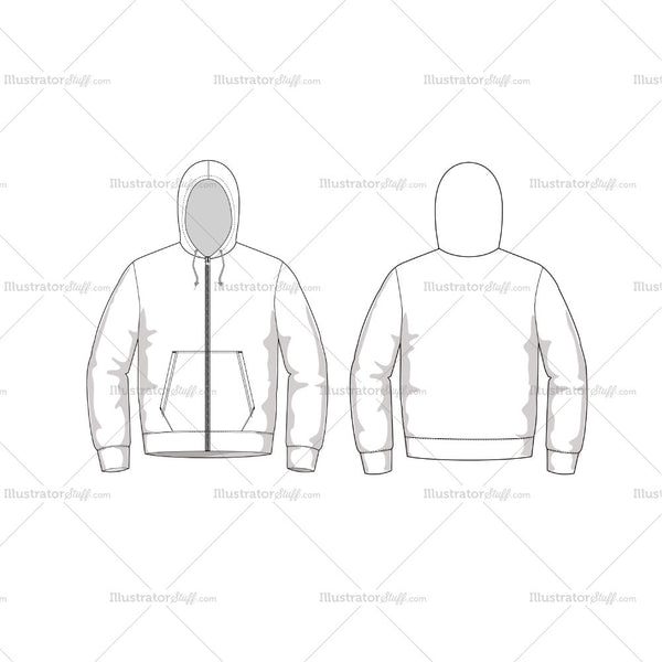 Hoodie Men Fashion Flat Template