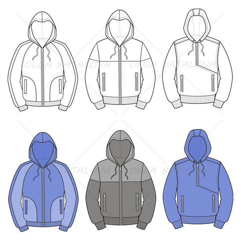 Men's Hooded Jacket Fashion Flat Templates