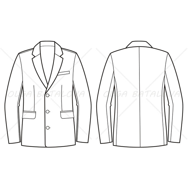 {Illustrator Stuff} Men's Business Suit Jacket Fashion Flat