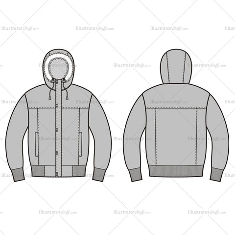 Men's Quilted Down Jacket Fashion Flat Template