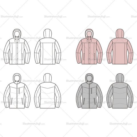 Women's Quilted Down Jacket Fashion Flat Template