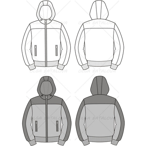{Illustrator Stuff} Men's Hooded Jacket Fashion Flat Template