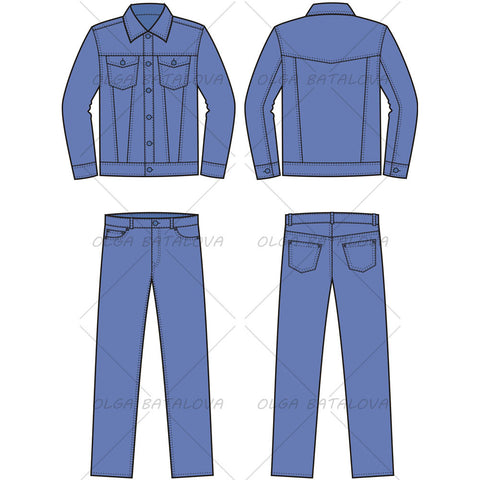 Men's Jean Jacket and Pants Fashion Flat Template