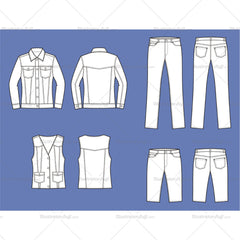 Women's Jean Jacket, Pants, Vest And Shorts Fashion Flat Template
