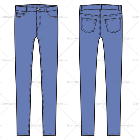 Women's Skinny Jean Pants Fashion Flat Template