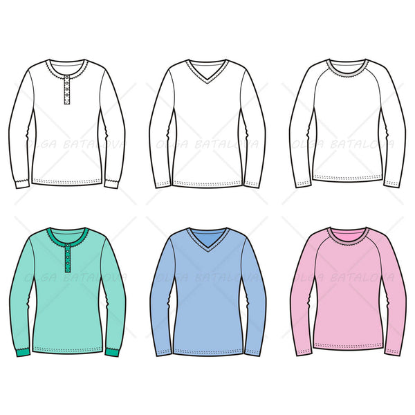 Women's Sweater Fashion Flat Templates
