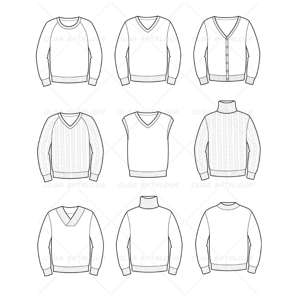 Mens Sweater Fashion Flat Templates on turtle outline