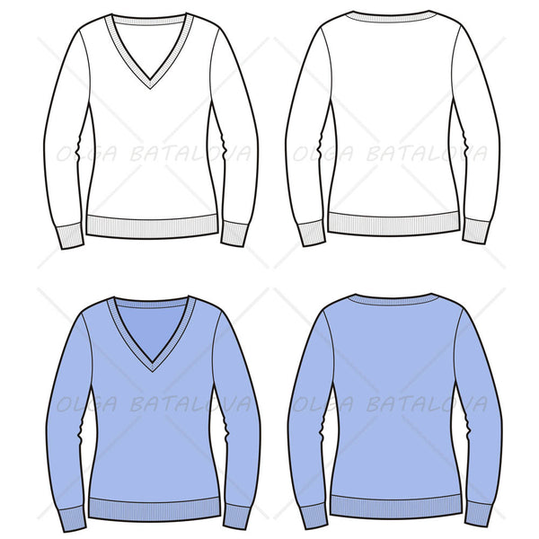 Women's V-Neck Sweater Fashion Flat Template