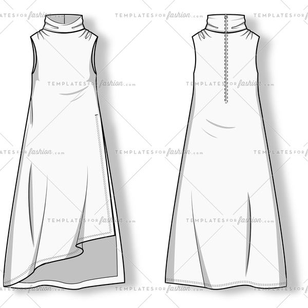 Women's Dress Fashion Flat Template.