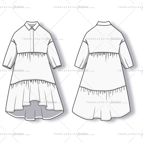 Women's Shirt Dress Fashion Flat Template.