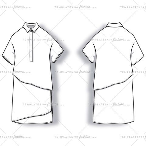 Short Sleeve Polo Dress Fashion Flat Templates.