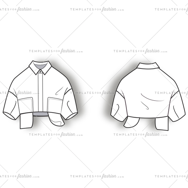 Shirt Jacket Flat Template.