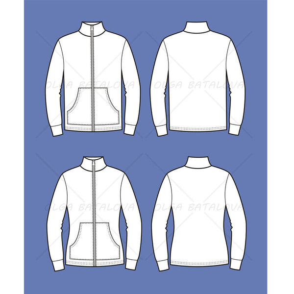 Women's and Men's Zip Jacket Fashion Flat Template
