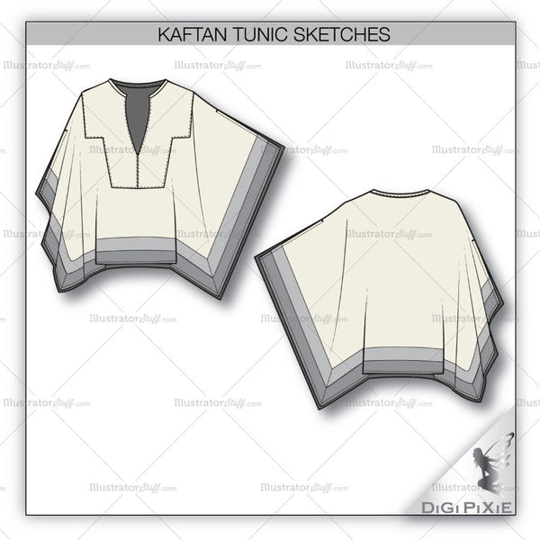 Kaftan Tunic Sketch Template