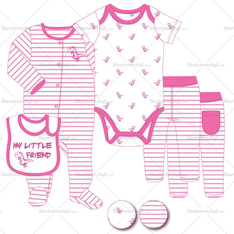 Infant Sleep Romper, Onesie, Bib And Pants Fashion Flat Template