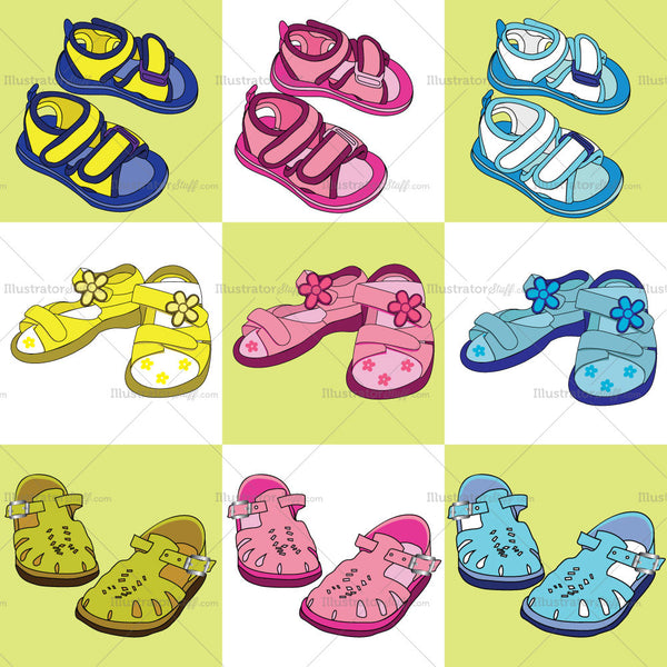 Kid's Shoes Fashion Flat Templates