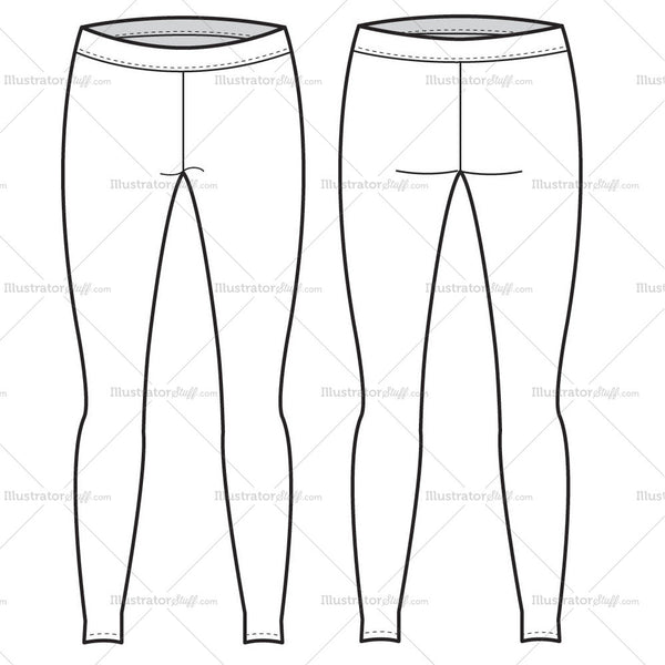 Womens Leggings Fashion Flat Template Illustrator Stuff