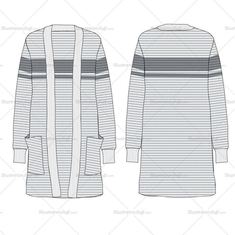 Women's Long Ribbed Cardigan Flat Templates