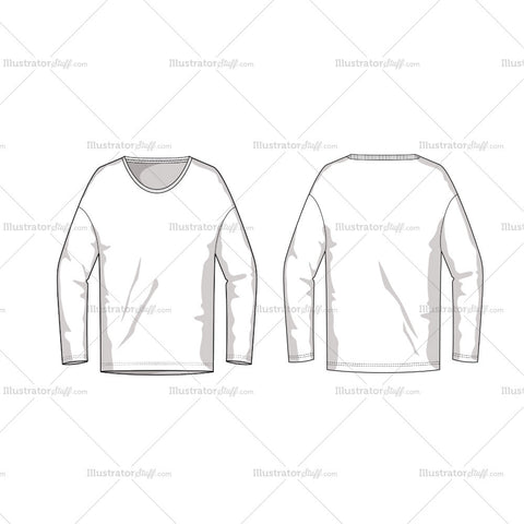 Long Sleeve Fashion Flat Template