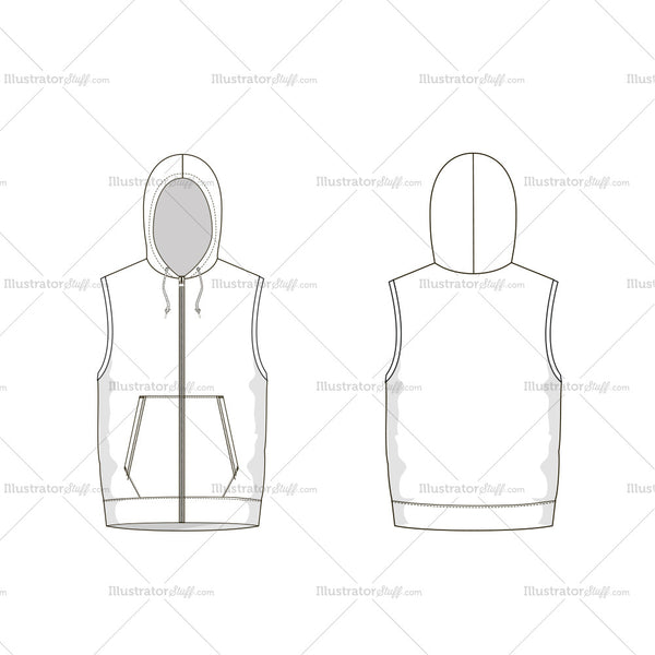 Men's Vest Fashion Flat Template
