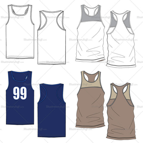 Men's Tank Top Fashion Flat Templates