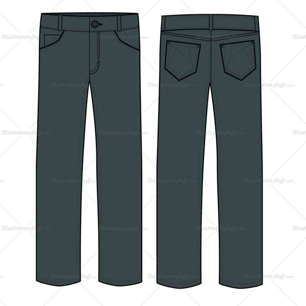 {Illustrator Stuff} Men's Casual Jeans Fashion Flat Template