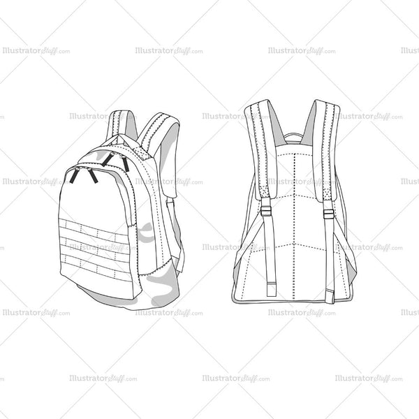 Military Backpack Fashion Flat Template