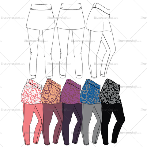 Skeggings Fashion Flat Templates