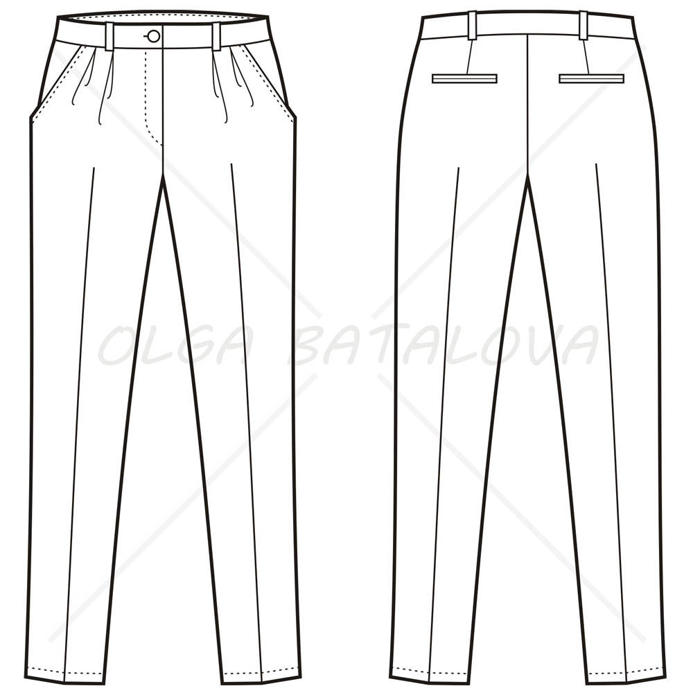 Women's Pleated Pants Fashion Flat Template