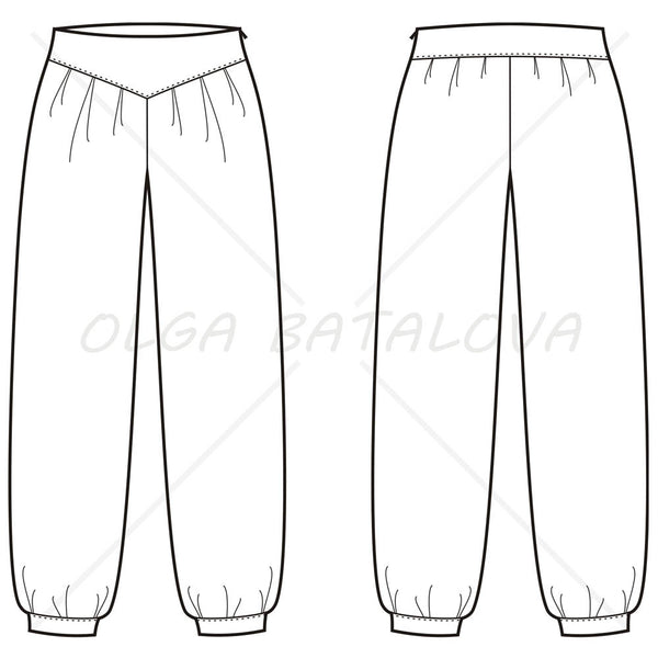{Illustrator Stuff} Women's Harem Pants Fashion Flat Templates