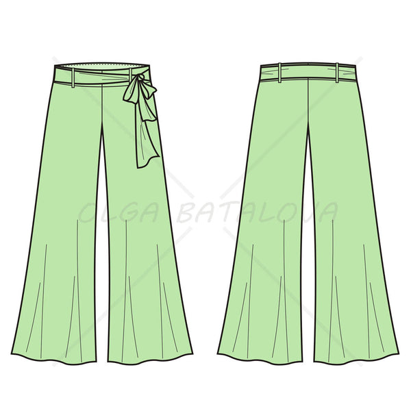 Women's Flaired Pants Fashion Flat Template