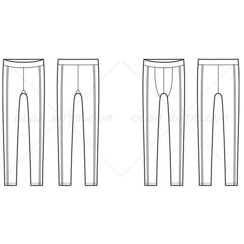 Women's And Men's Sport Tights Fashion Flat Templates